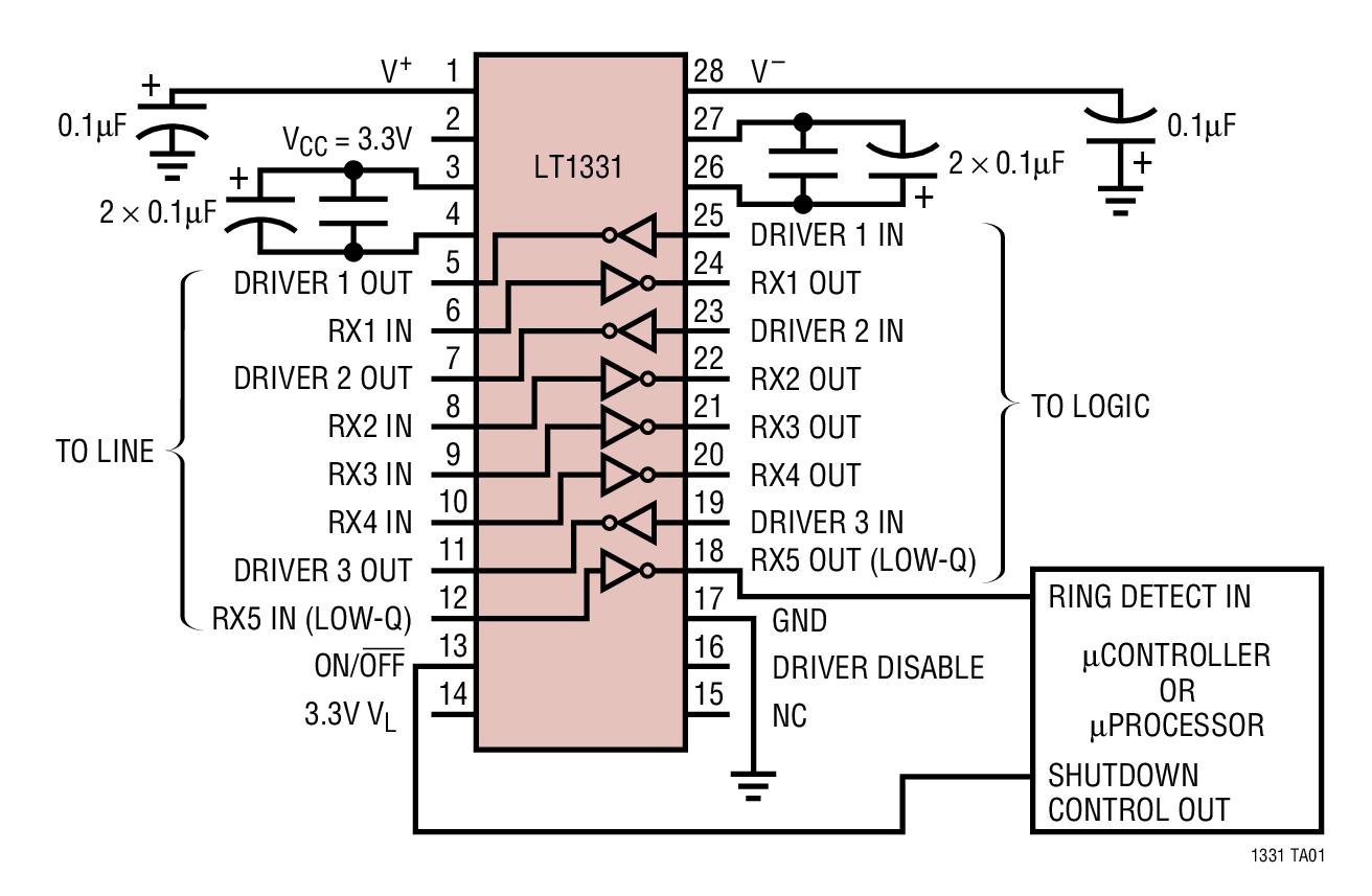 LT1331 在停機模式中 1 個接收器處于運行狀態的 3V RS562 或 5V/3V RS232 收發器