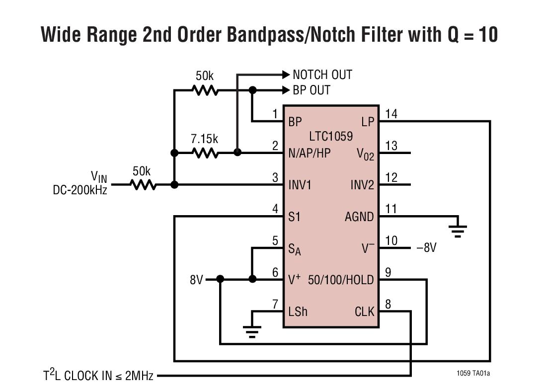 LTC1059 高性能開關式電容器通用型濾波器