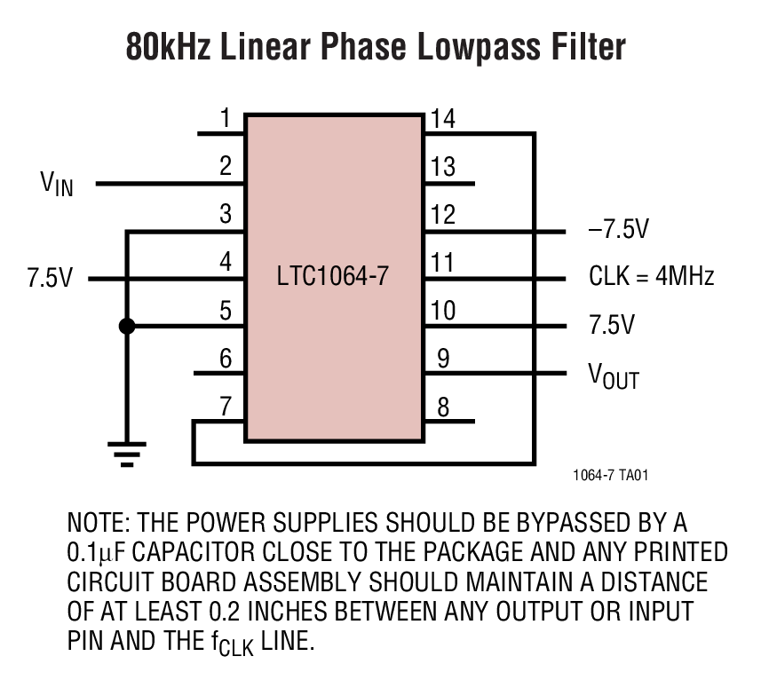 LTC1064-7 线性相位、8 阶低通滤波器