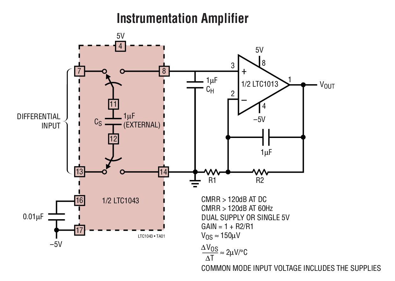 LTC1043 雙通道精準儀表開關電容器單元式部件