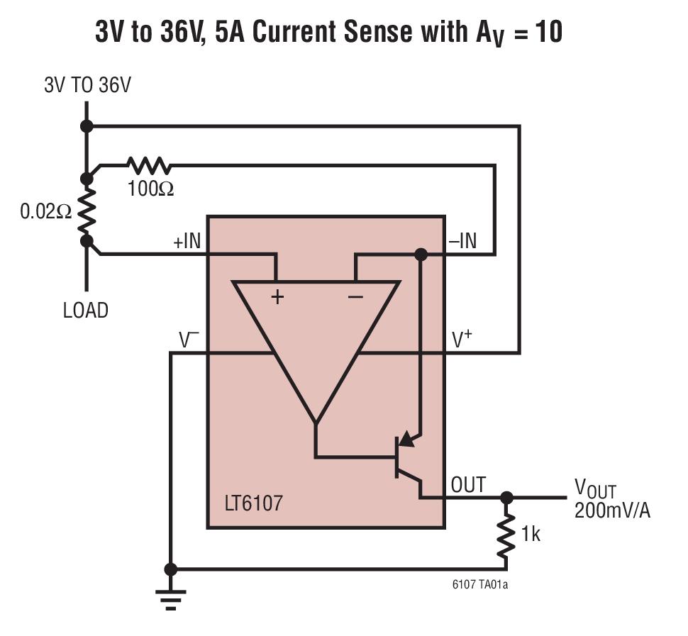 LT6107 采用 SOT-23 封裝的高溫、高...