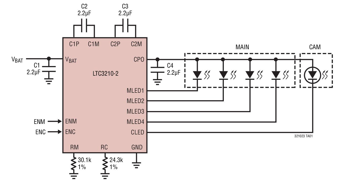 LTC3210-2 采用 3mm x 3mm QFN 封装、具 32 级亮度控制能力的主/相机 LED 控制器
