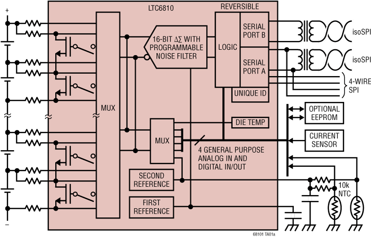 LTC6810-1 6 通道电池堆栈监控器