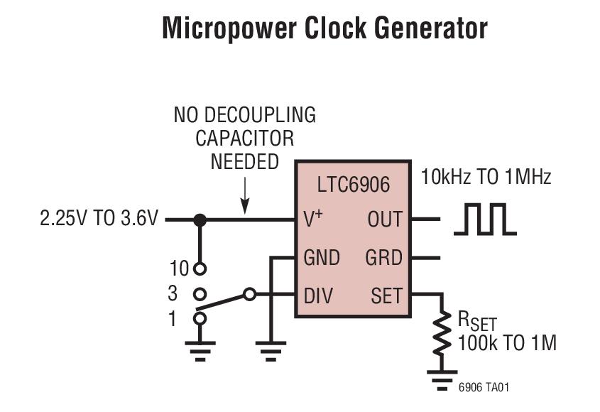 LTC6906 具微功率和 10kHz 至 1MHz 电阻器设定频率范围的 SOT-23 封装振荡器