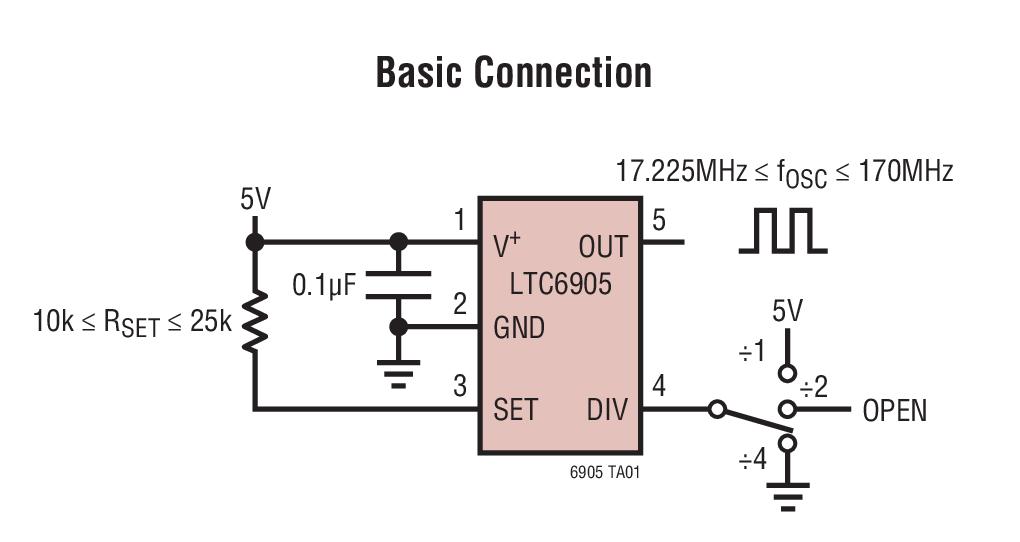 LTC6905 采用电阻器设定 17MHz 至 170MHz 频率的 SOT-23 封装振荡器