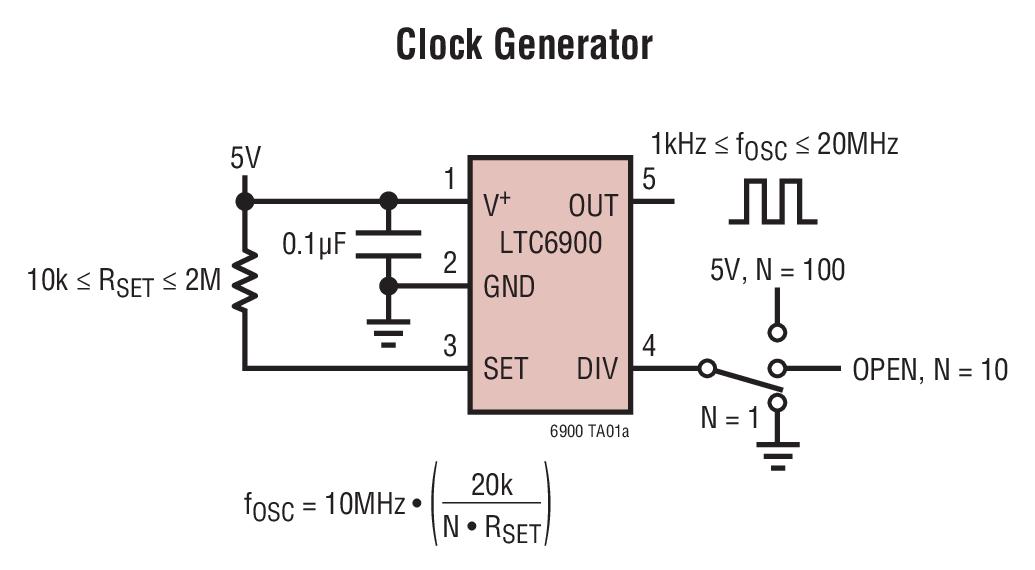 LTC6900 低功率、1kHz 至 20MHz 电阻器设定频率范围、SOT-23 封装的振荡器