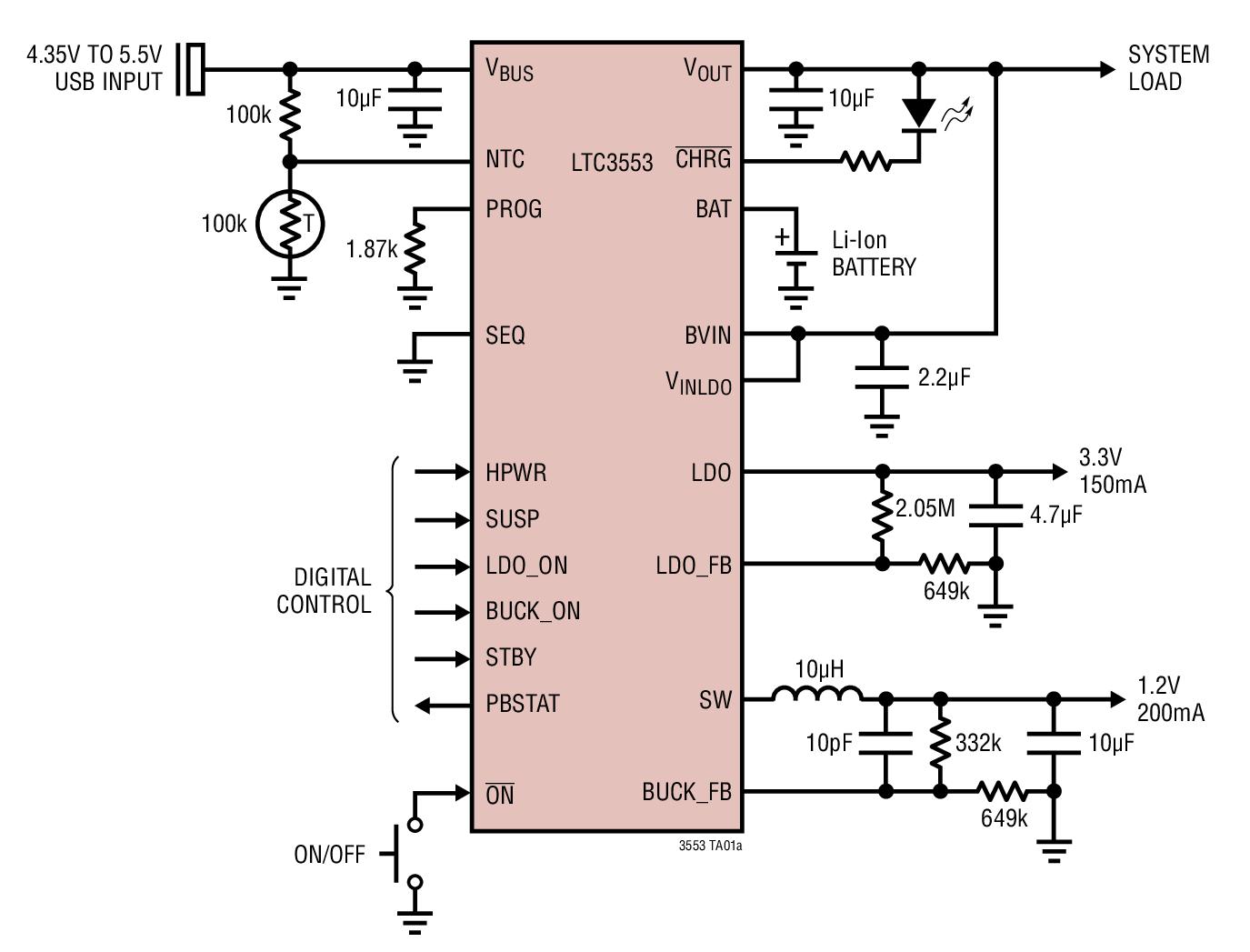 LTC3553 具锂离子电池充电器、LDO 和降压型稳压器的微功率 USB 电源管理器