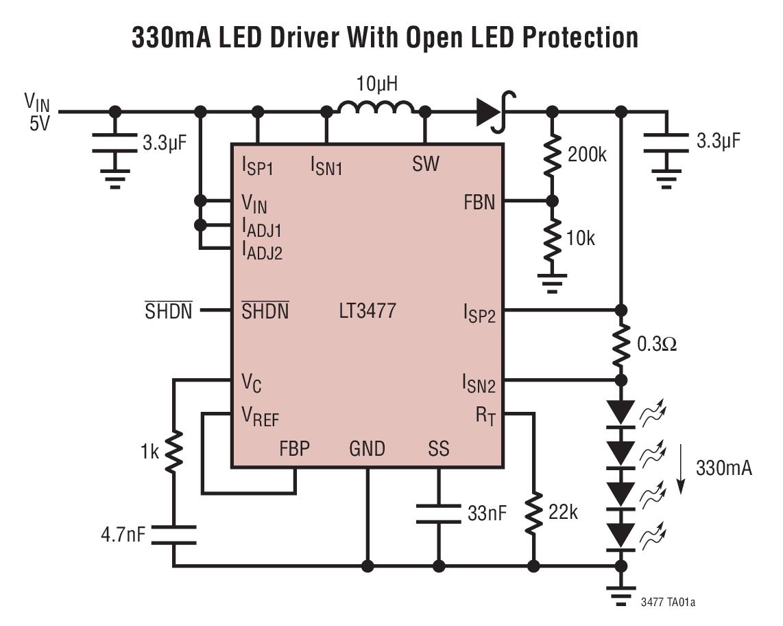 LT3477 具有双通道轨至轨电流检测功能的 3...