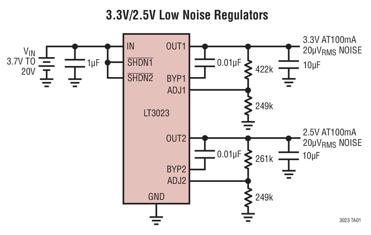 LT3023 双通道 100mA、低压差、低噪声、微功率稳压器