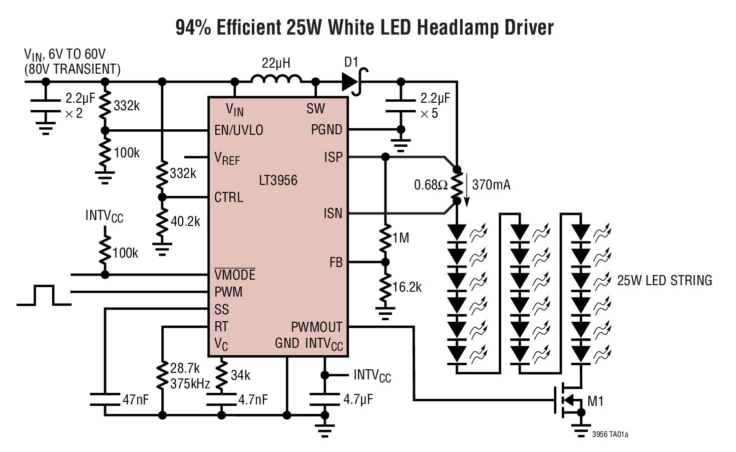 LT3956 80VIN、80VOUT 恒定電流...