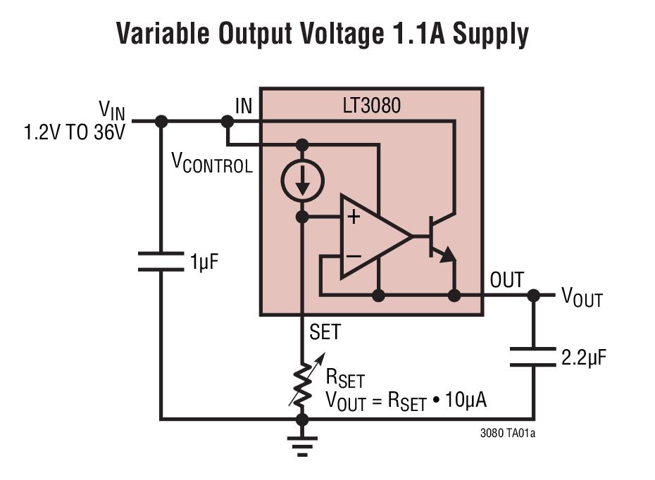 LT3080 可调 1.1A、单电阻、低压差稳压...