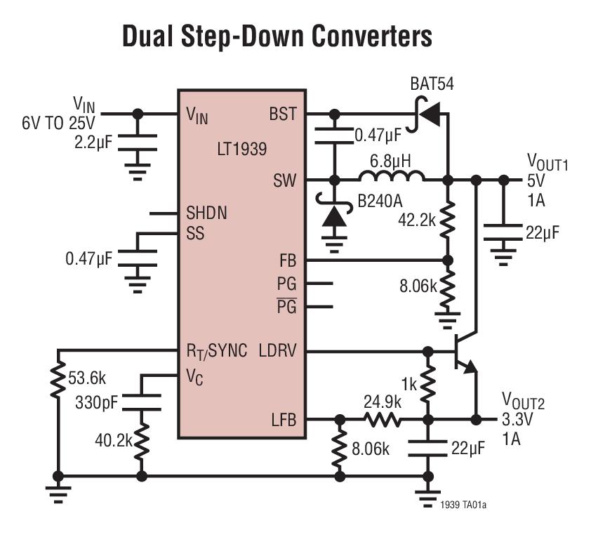 LT1939 单片式 2A 降压型稳压器和线性稳压器/控制器