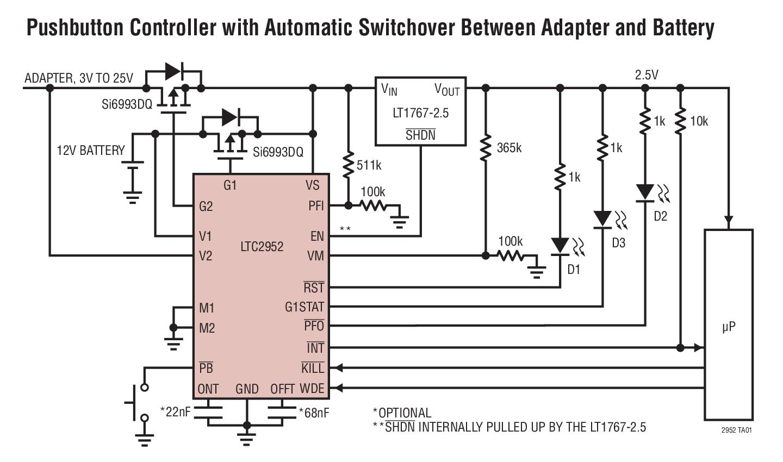 LTC2952 具监控器的按钮 PowerPath 控制器
