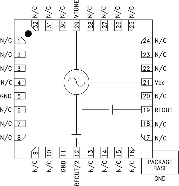 HMC509 采用SMT封装的VCO,具有Fo/2,7.8 - 8.8 GHz