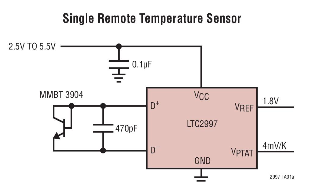LTC2997 远程 / 内部温度传感器