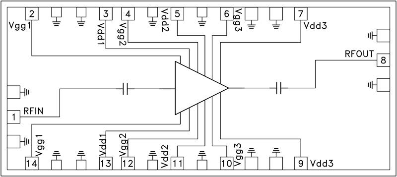 HMC-ABH241 中等功率放大器芯片,50 - 66 GHz