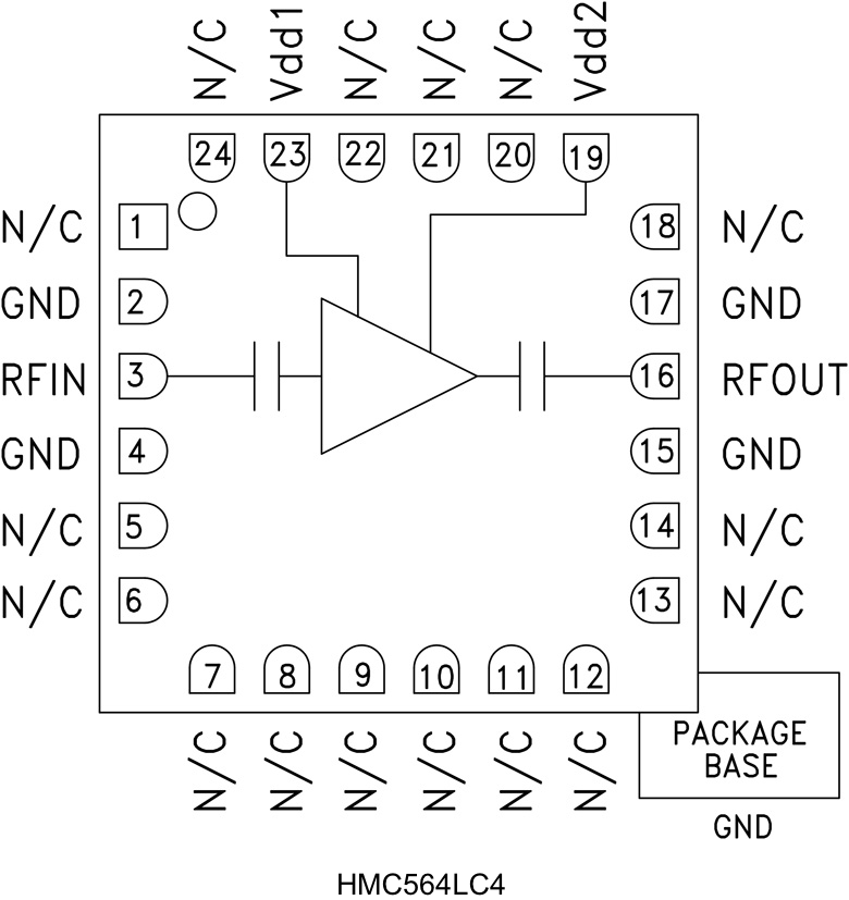 HMC564LC4 低噪声放大器,采用SMT封装,7 - 14 GHz