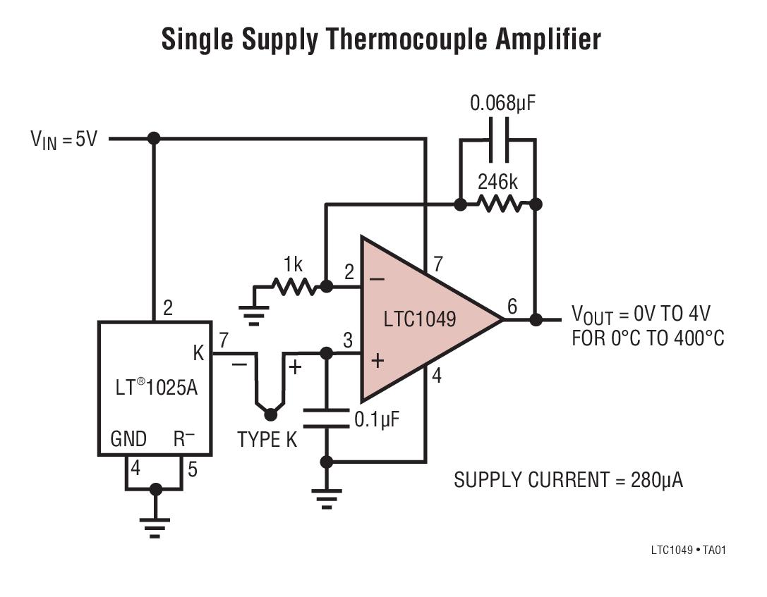 LTC1049 具內部電容器的低功率、零漂移運算放大器
