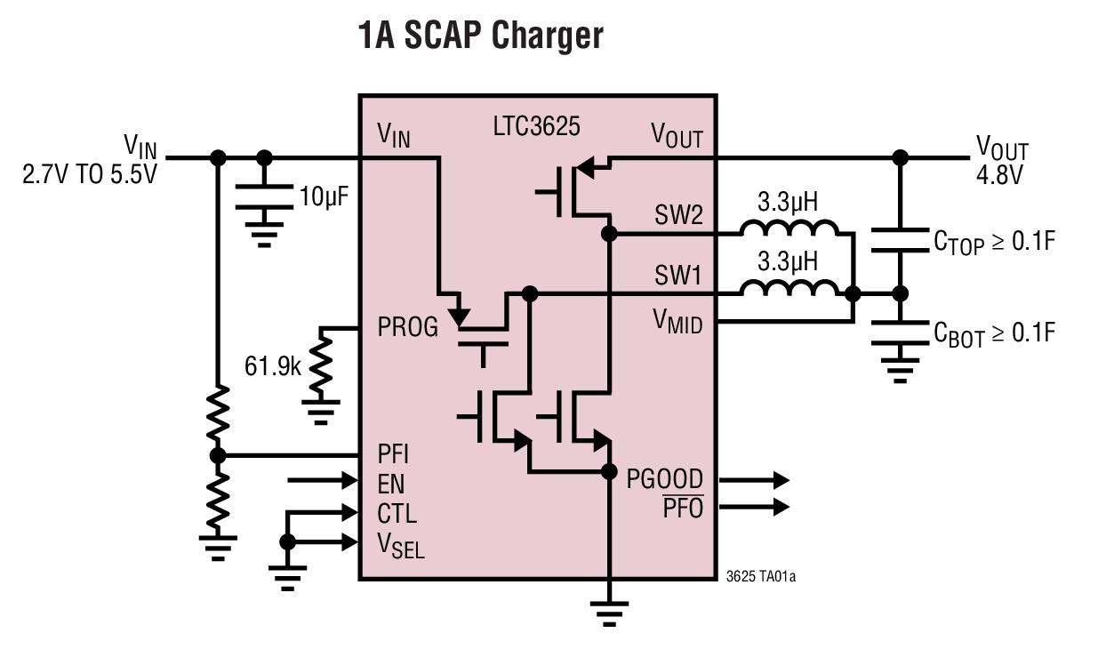 LTC3625 具自动电池平衡功能的 1A、高效率、两节超级电容器充电器