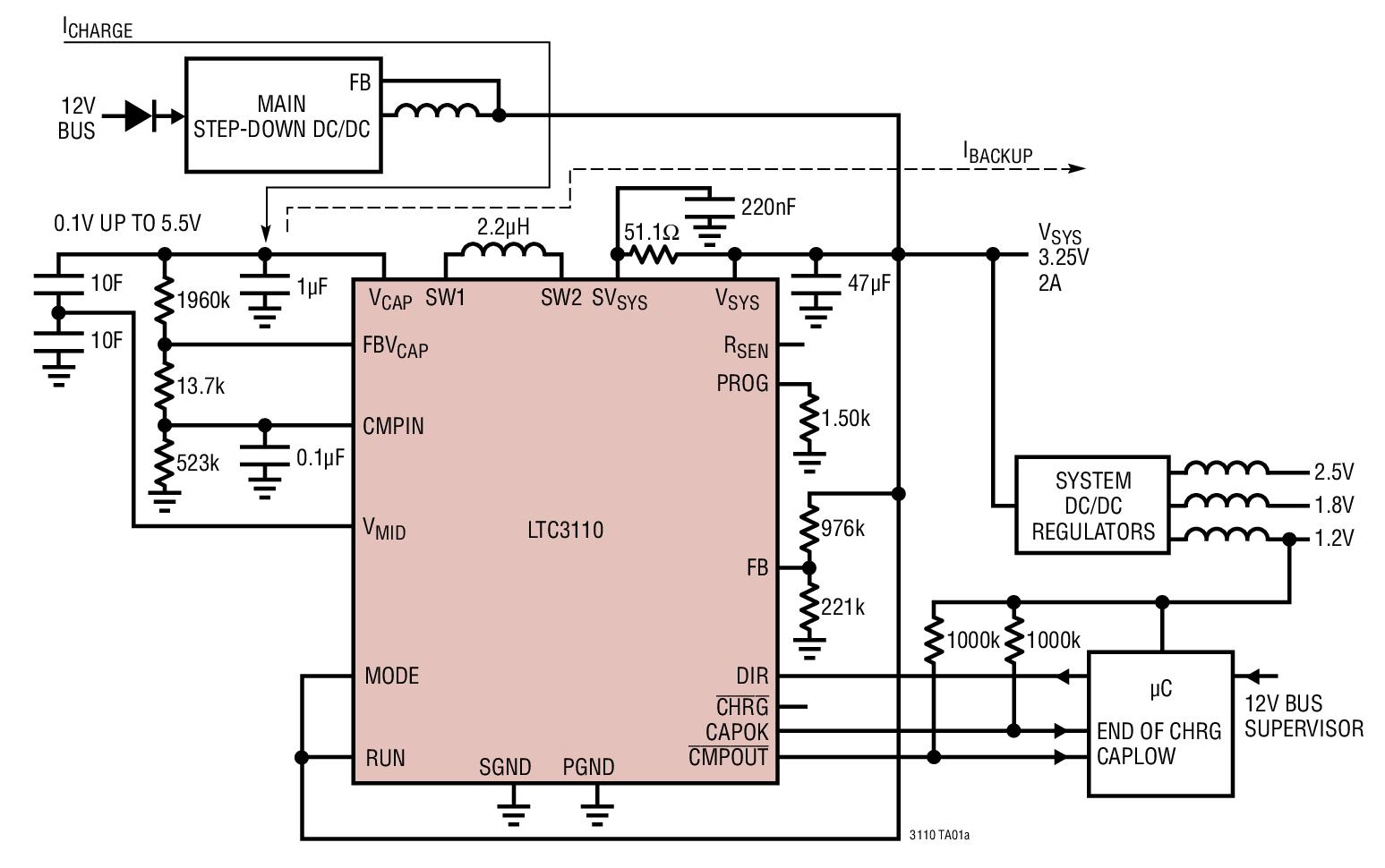 LTC3110 2A、双向、降压-升压型 DC/DC 稳压器和充电器 / 平衡器