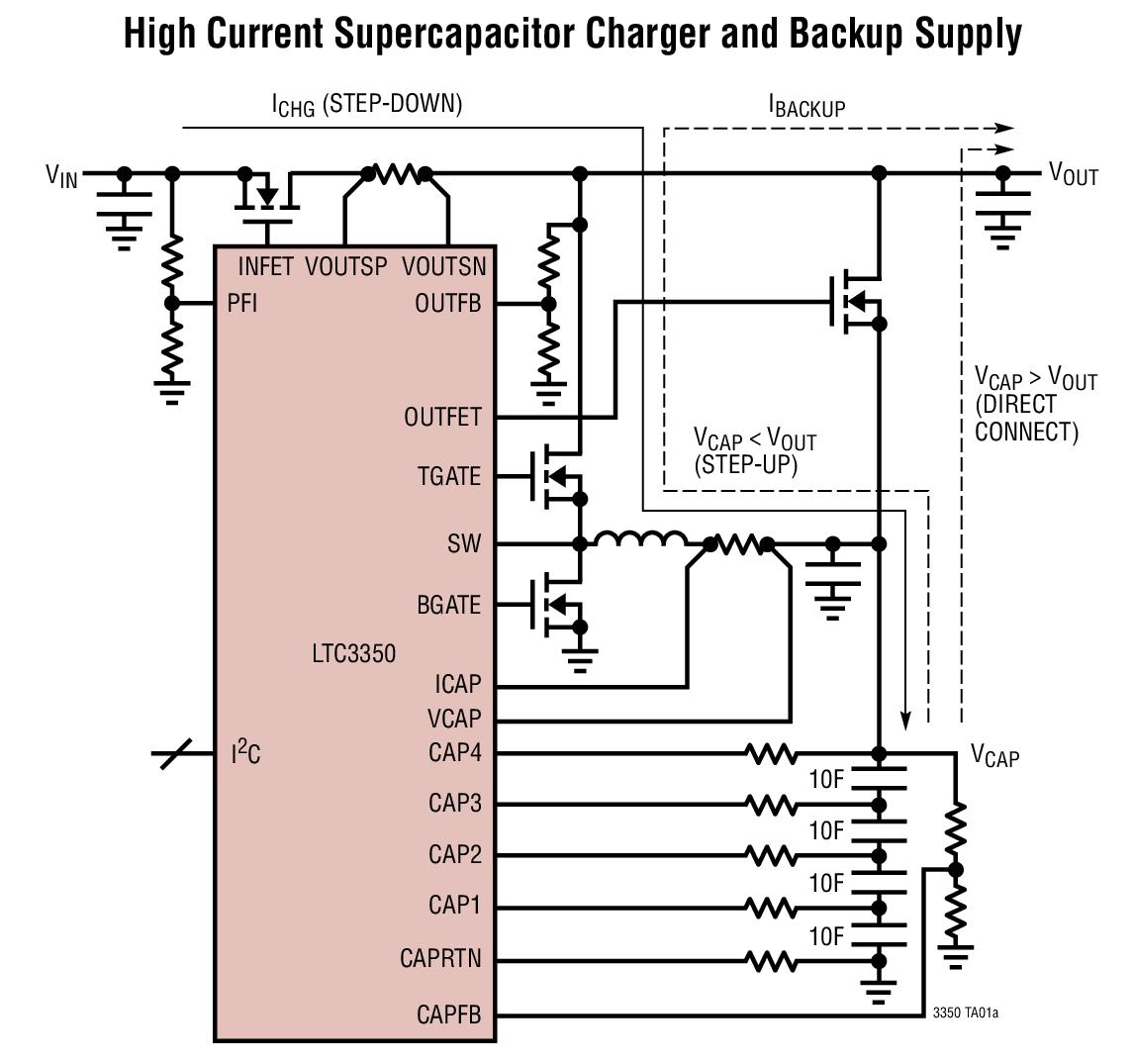 LTC3350 大电流超级电容器后备控制器和系统监视器