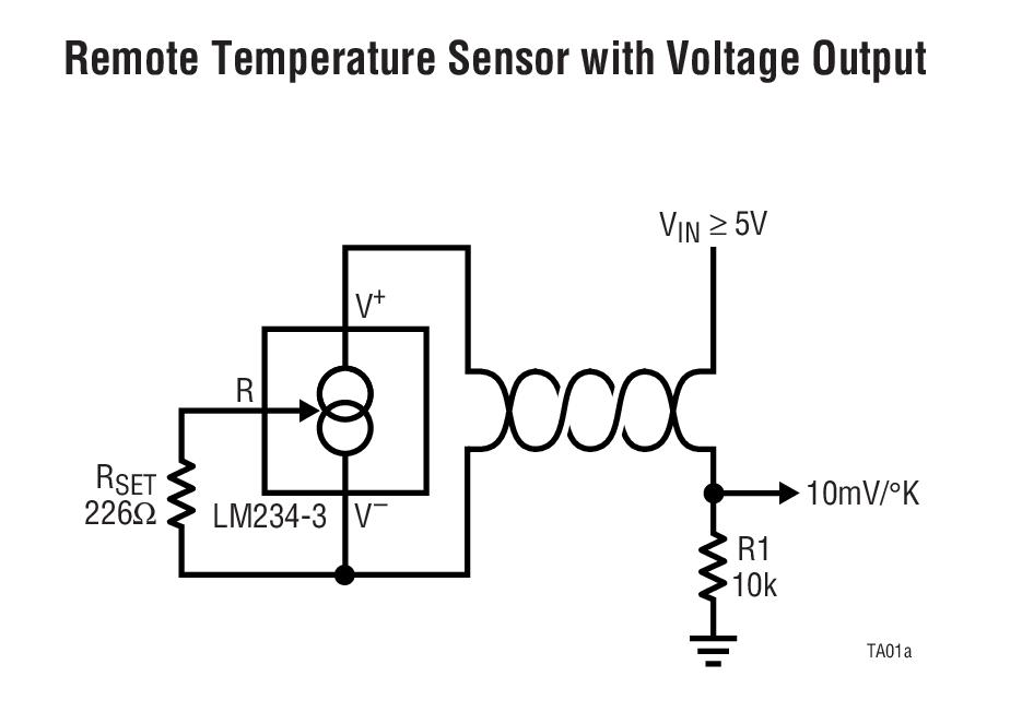 LM334S 恒定电流源和温度传感器