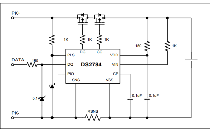DS2784独立式单节电池电量计IC的数据手册免费下载