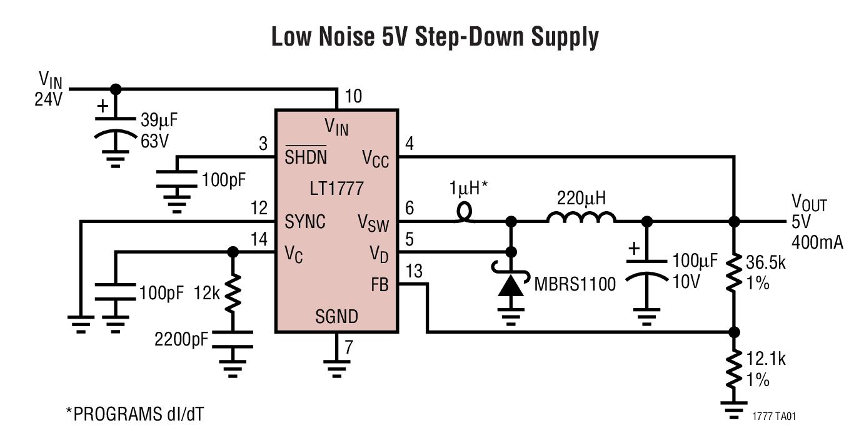 LT1777 低噪声、降压型开关稳压器