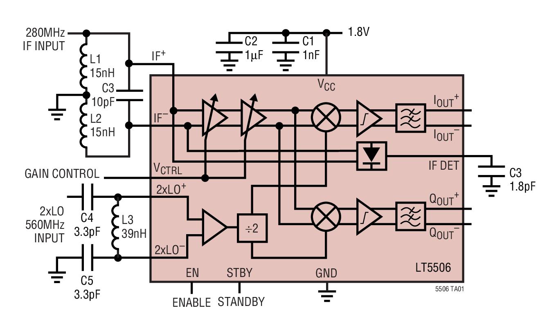 LT5506 具 VGA 的 40MHz 至 500MHz 正交解调器
