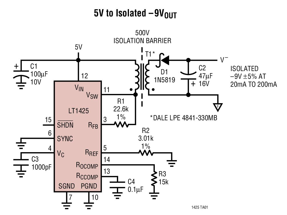 LT1425 隔离型反激式开关稳压器