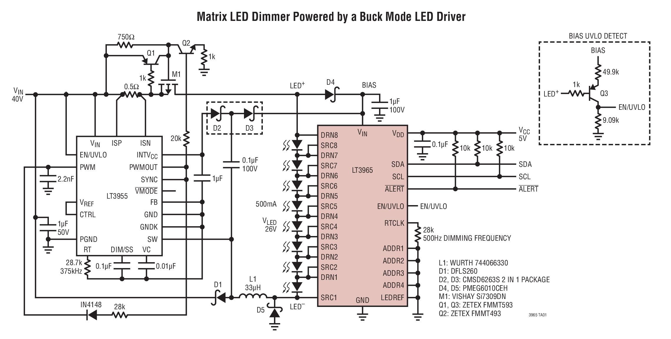 LT3965 8 开关矩阵 LED 调光器