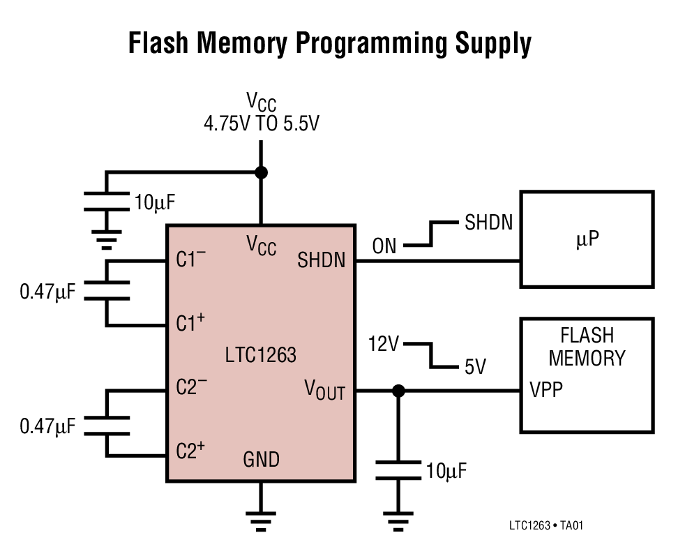 LTC1263 12V、60mA 闪速存储器编程电源
