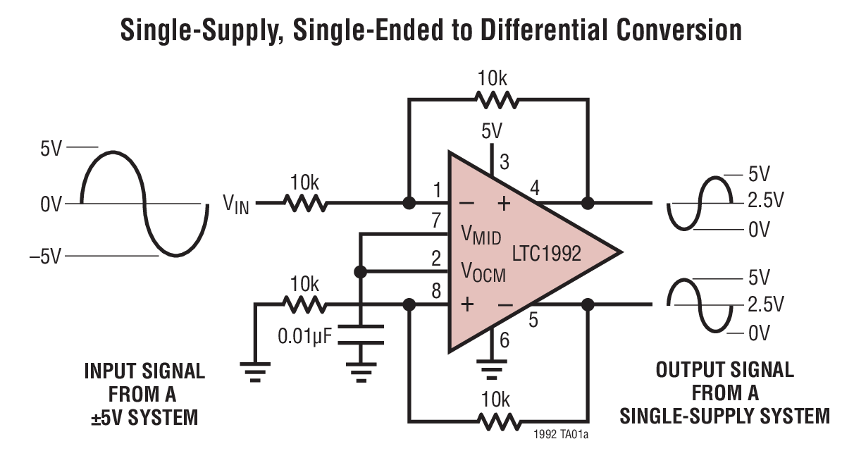 LTC1992 低功率、全差分输入 / 输出放大器 / 驱动器系列