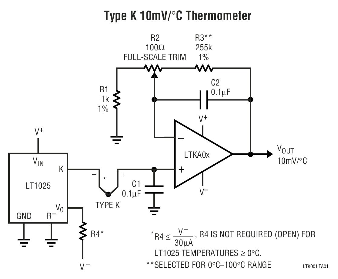 LTK001 热电偶冷结点补偿器和匹配的放大器