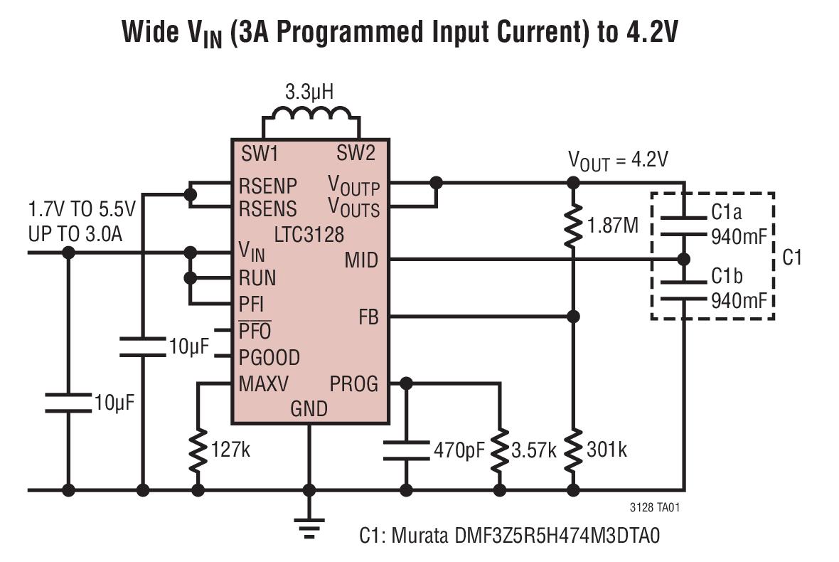 LTC3128 具准确输入电流限值的 3A、单片...