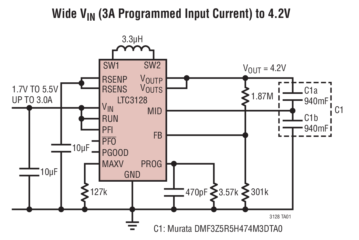 LTC3128 具准确输入电流限值的 3A、单片式、降压-升压型超级电容器充电器和平衡器