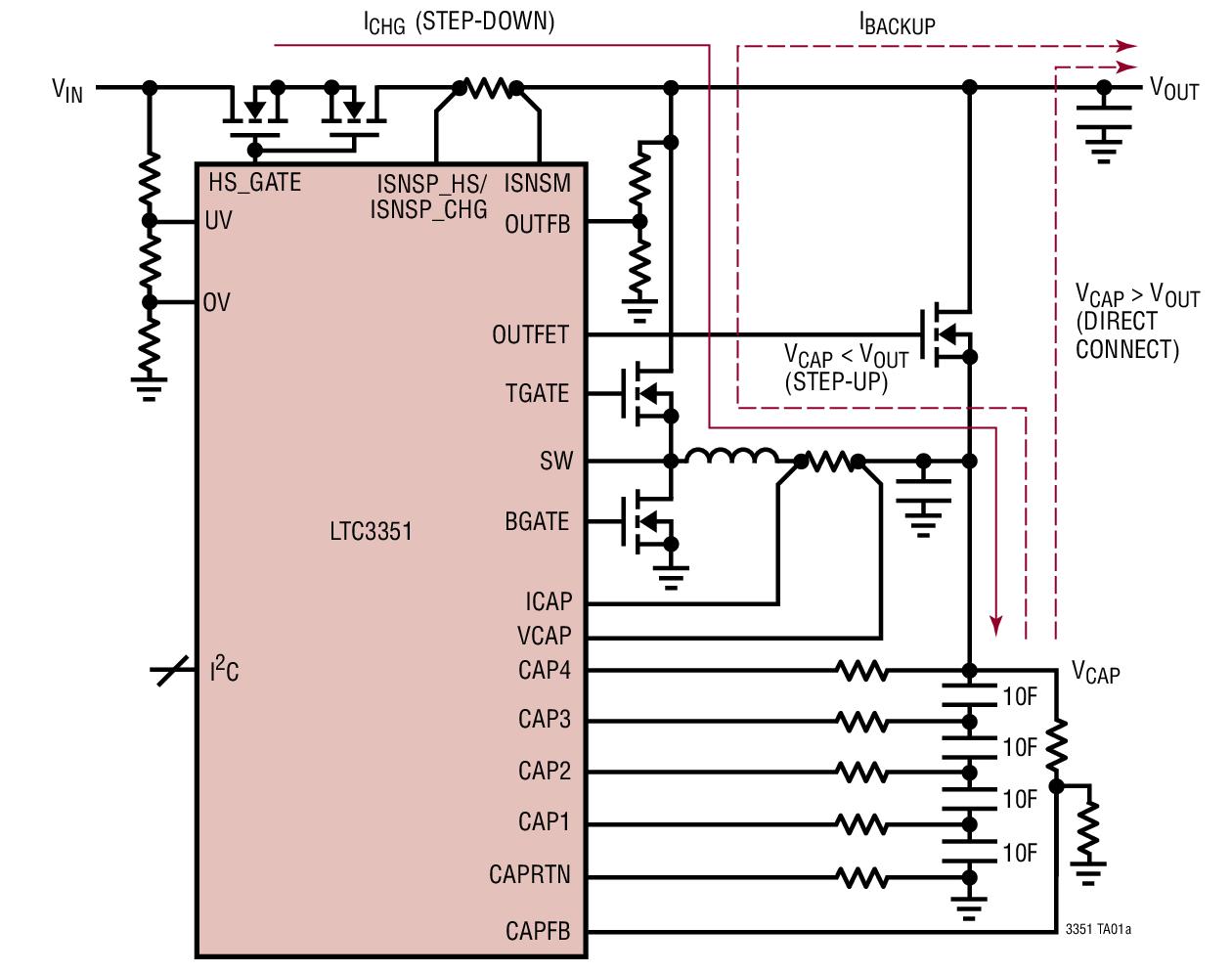 LTC3351 可热插拔的超级电容器充电器、后备控制器和系统监视器