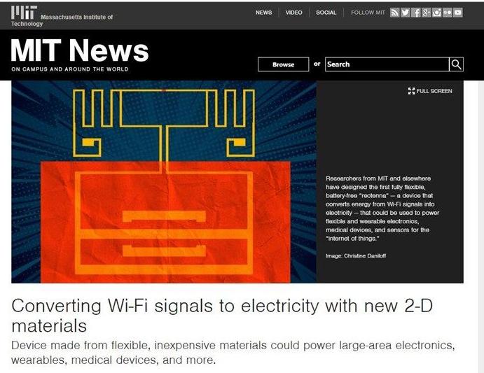 麻省理工发明了一种新设备 可将WiFi信号转换为可为设备供电的电力