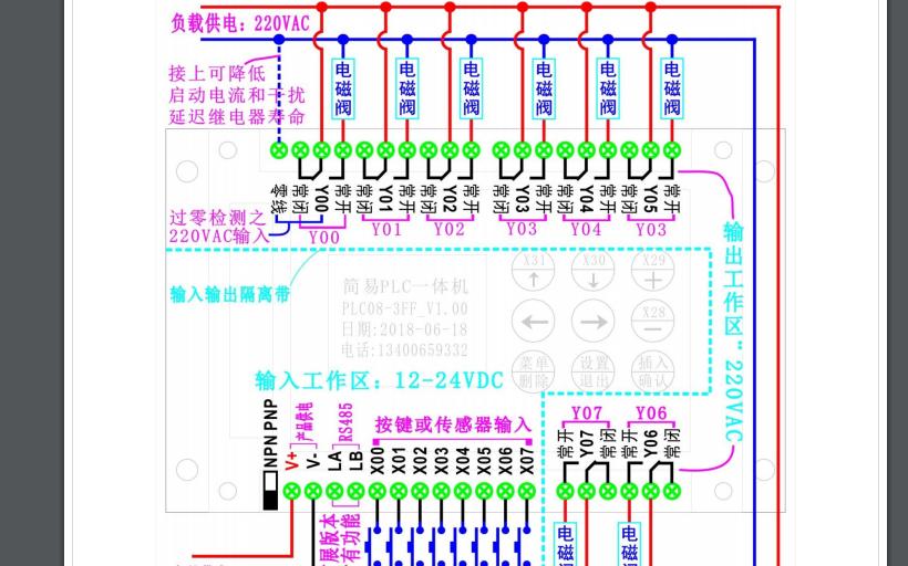一款8进8出的简易PLC的详细说明书
