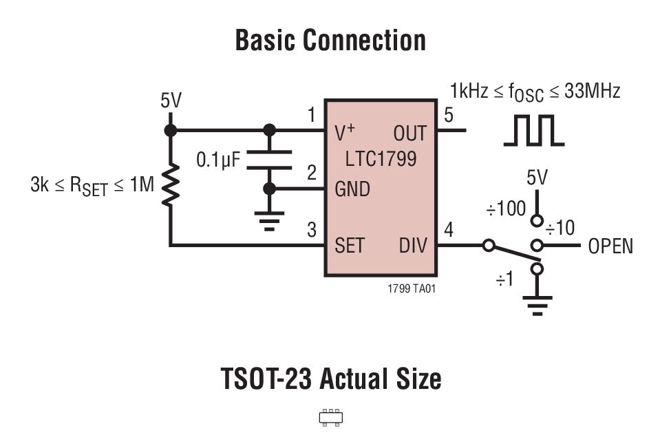 LTC1799 采用电阻器设定 1kHz 至 33MHz 频率的 SOT-23 封装振荡器