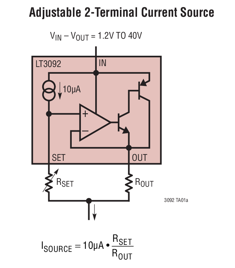 LT3092 200mA、两端可编程电流源
