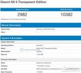 小米9透明版跑分曝光 预装基于Android9的MIUI系统内建12GBRAM