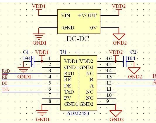 基于74HC14芯片与ADM2483芯片实现RS-485接口的信号隔离自收发设计