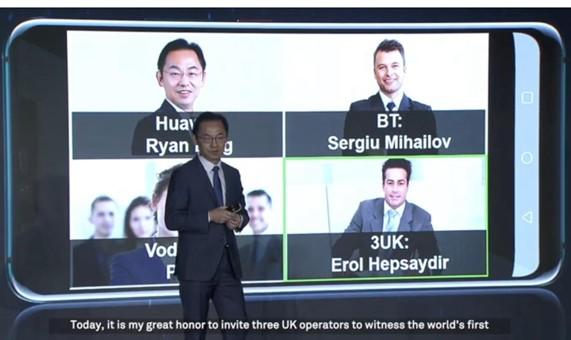华为与英国三大运营商联手打通了全球首个跨网5G视...