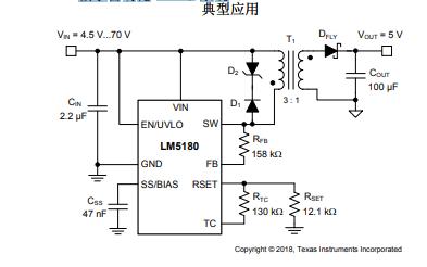 LM5180初级侧稳压PSR反激式转换器的数据手册免费下载