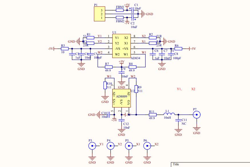 ad834b乘法器的电路原理图免费下载