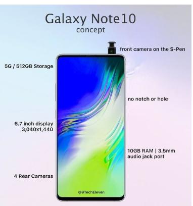 三星Note10曝光采用真全面屏設計支持5G擁有10GB+512GB大存儲