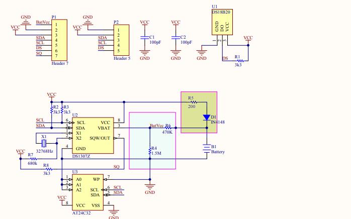 DS1307串行实时时钟和AT24C02串行CMOS E2PROM电路原理图免费下载
