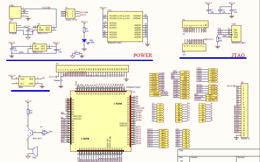 EPM240 CPLD开发板的电路原理图免费下载