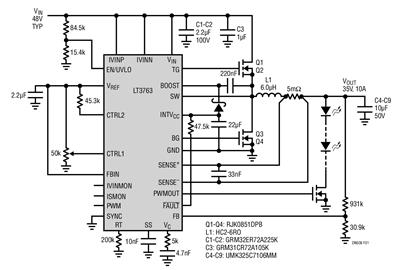 LT3763同步降压电流LED驱动器的应用解决方案